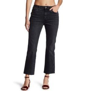 Free People Black cropped frayed hem Midrise Jeans